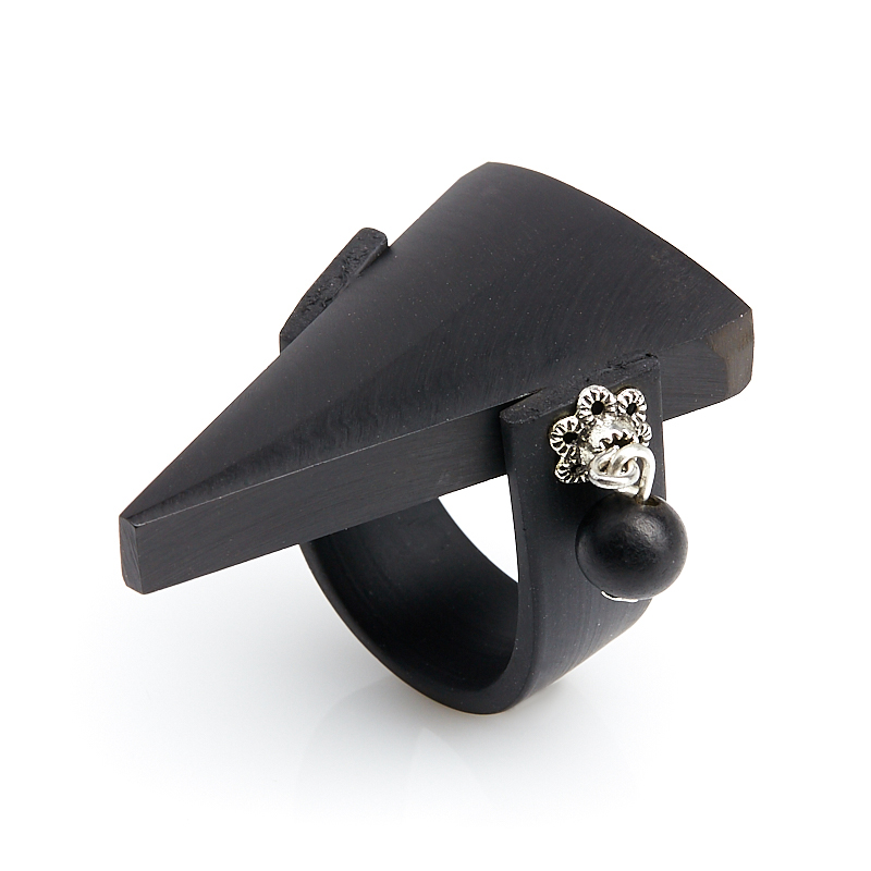 Кольцо гагат матовый Грузия (биж. сплав, каучук) (регулируемый) размер 16,5