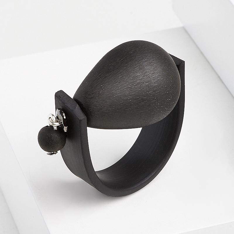 Кольцо гагат матовый Грузия (биж. сплав, каучук) (регулируемый) размер 17