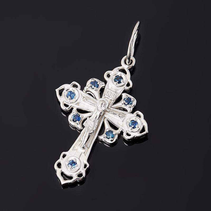 Кулон сапфир крест огранка (серебро 925 пр. родир. бел.)