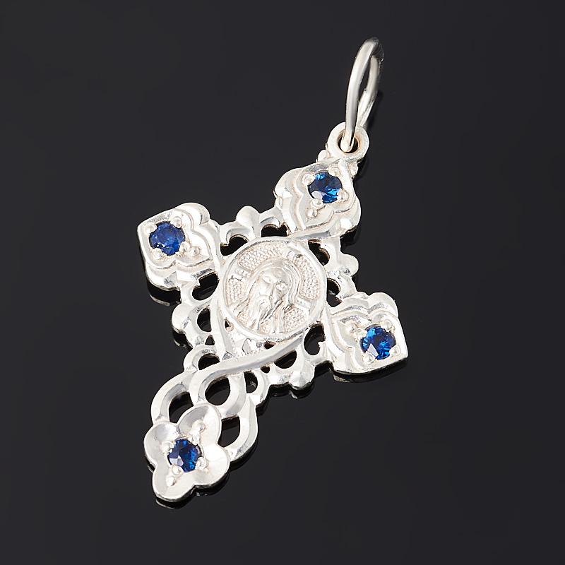 Кулон сапфир крест огранка (серебро 925 пр.)