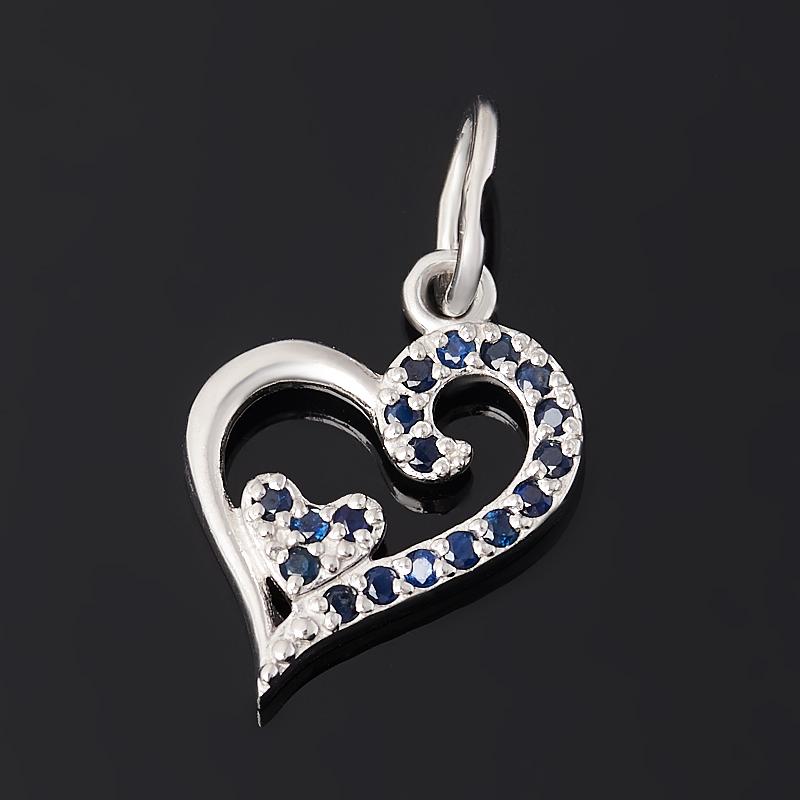 Кулон сапфир (серебро 925 пр. родир. бел.) сердечко огранка