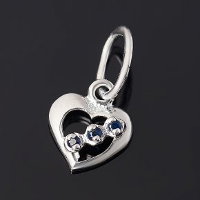 Кулон сапфир Индия (серебро 925 пр. родир. бел.) сердечко огранка