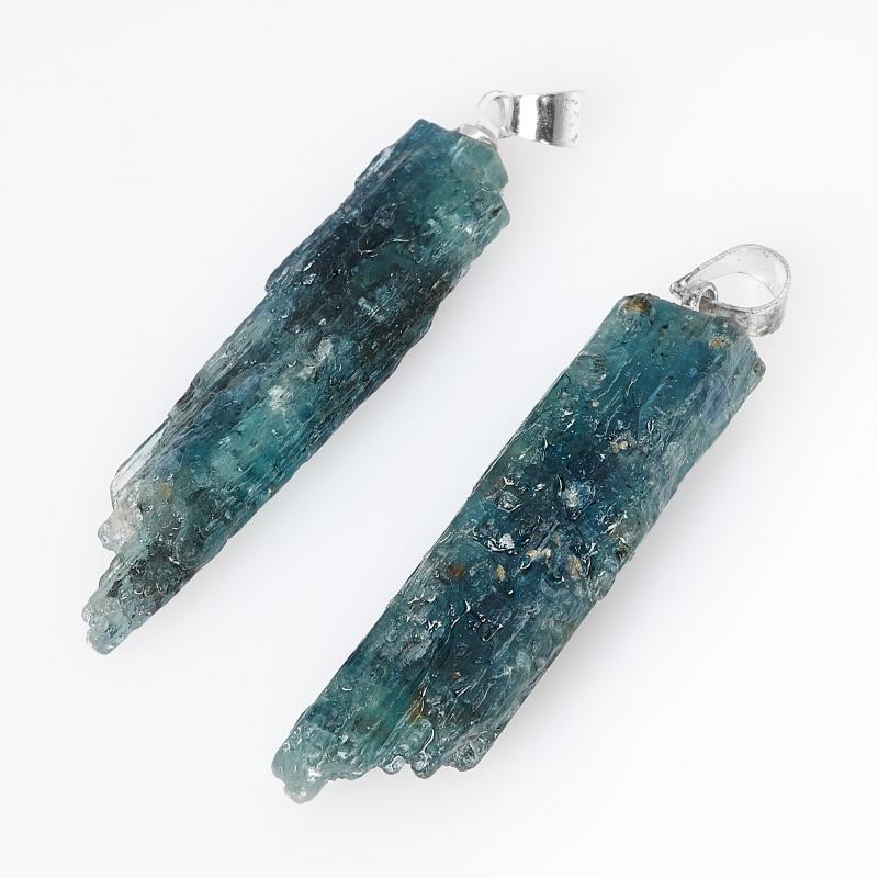 Кулон кианит синий Бразилия (биж. сплав) кристалл 4-4,5 см