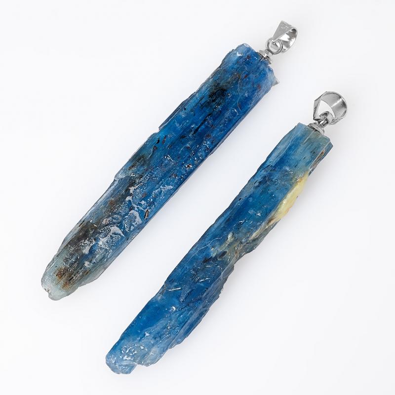 Кулон кианит синий Бразилия (биж. сплав) кристалл 5,5 см