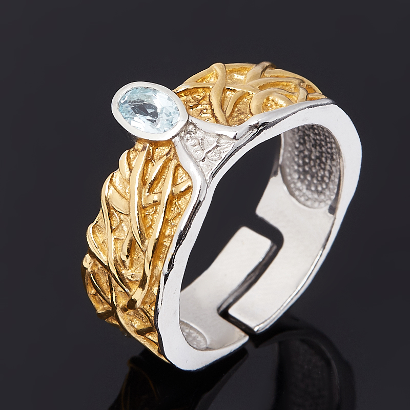 Кольцо топаз голубой Бразилия (серебро 925 пр. позолота, родир. бел.) огранка (регулируемый) размер 17