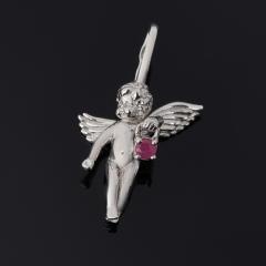 Кулон рубин Мьянма Ангел-хранитель огранка (серебро 925 пр. родир. бел.)