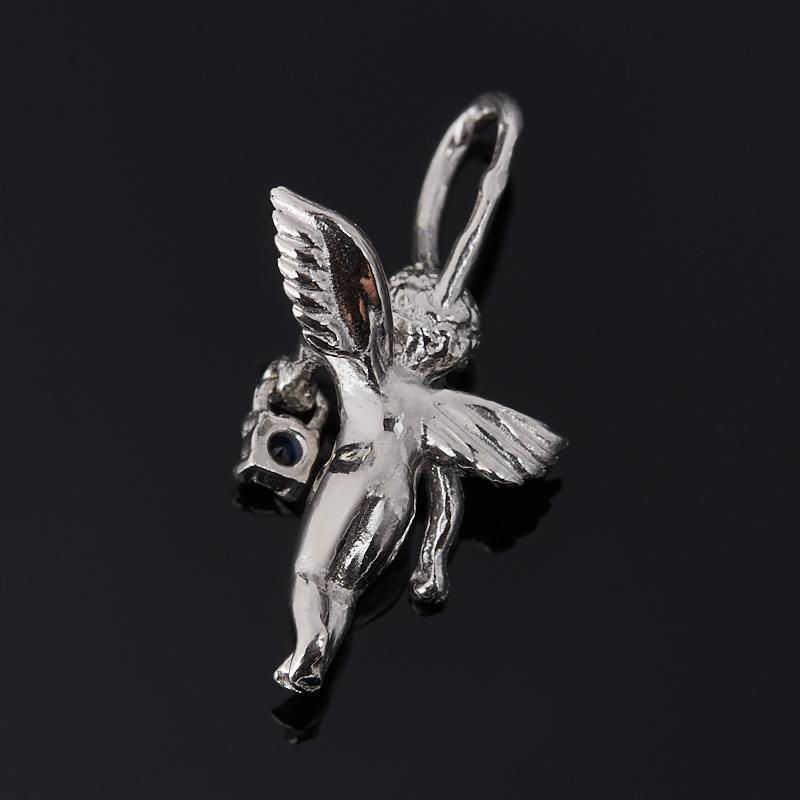 Кулон сапфир Индия Ангел-хранитель огранка (серебро 925 пр. родир. бел.)
