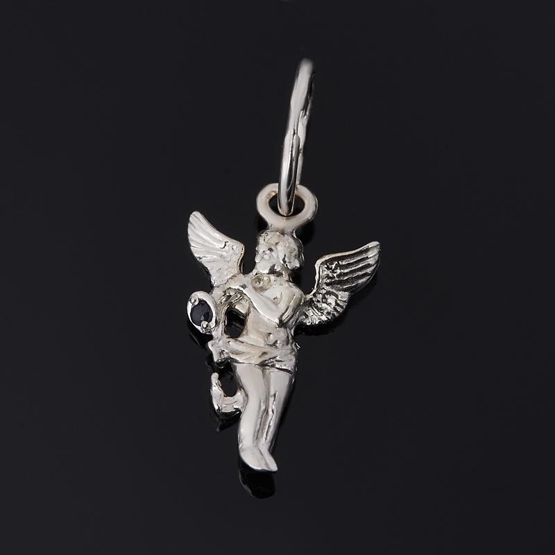 Кулон сапфир Ангел-хранитель огранка (серебро 925 пр. родир. бел.)