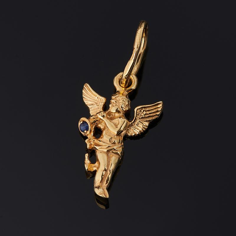 Кулон сапфир Ангел-хранитель огранка (серебро 925 пр. позолота)