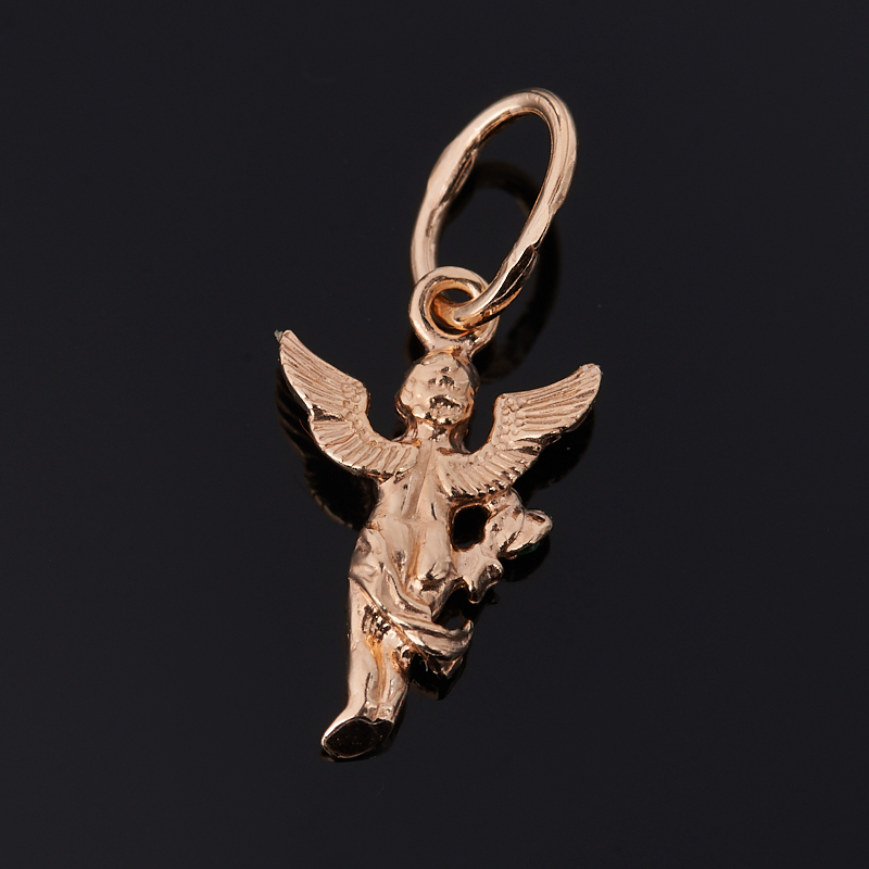Кулон изумруд Колумбия Ангел-хранитель огранка (серебро 925 пр. позолота)