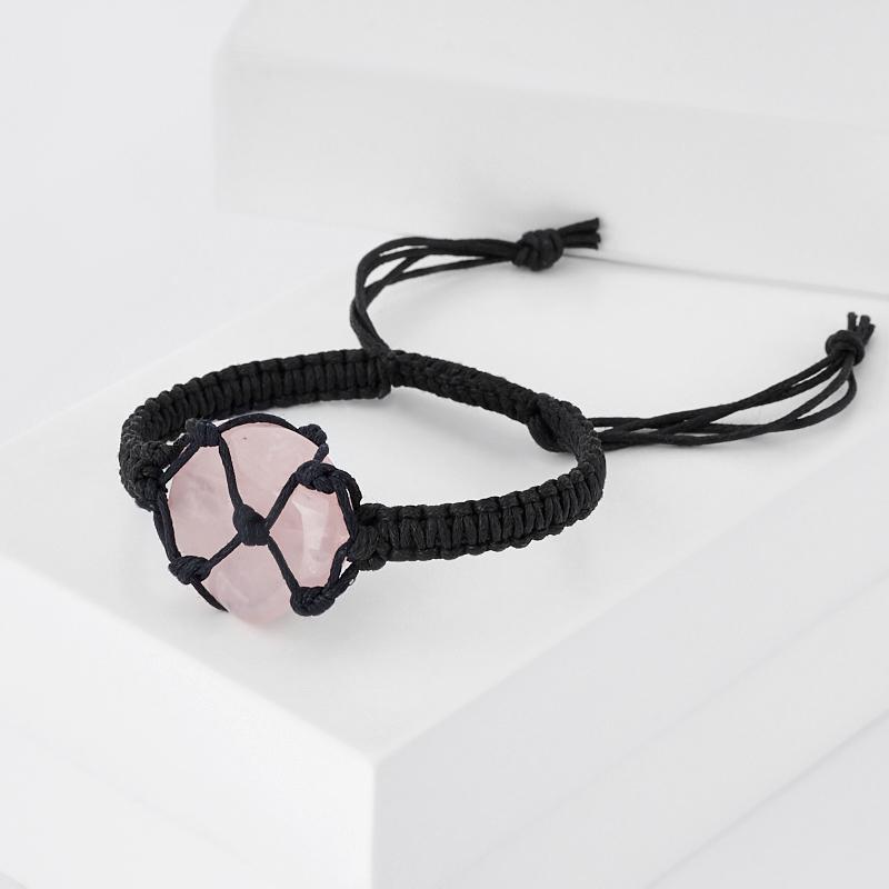 Браслет розовый кварц Бразилия (текстиль) шамбала 17 см (регулируемый)