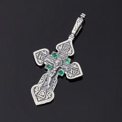 Кулон изумруд Колумбия (серебро 925 пр. оксидир.) крест огранка
