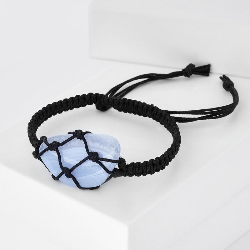 Браслет агат голубой  шамбала 16 см (регулируемый) (текстиль)
