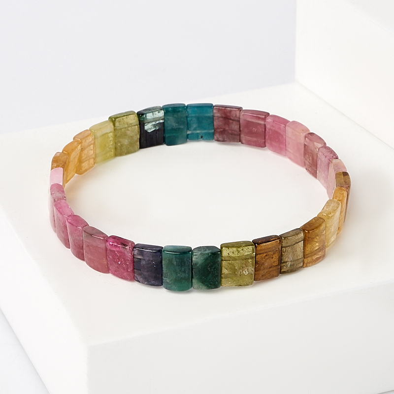 цена на Браслет турмалин зеленый (верделит) желтый (дравит) голубой (индиголит) розовый (рубеллит) 17 см