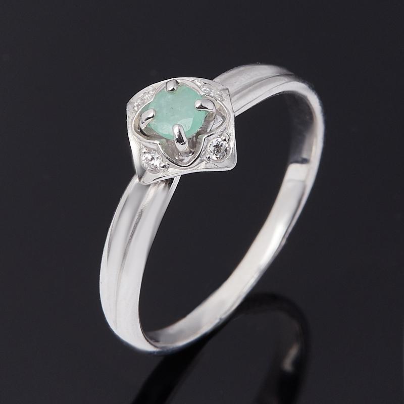 Кольцо изумруд (серебро 925 пр. родир. бел.) огранка размер 17 кольцо содалит серебро 925 пр регулируемый размер 17 5