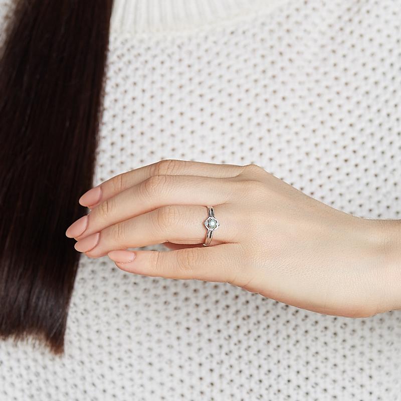Кольцо изумруд Колумбия (серебро 925 пр. родир. бел.) огранка размер 17