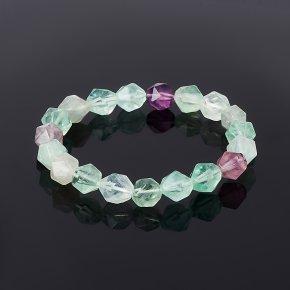 Браслет флюорит зеленый, фиолетовый огранка 15 см