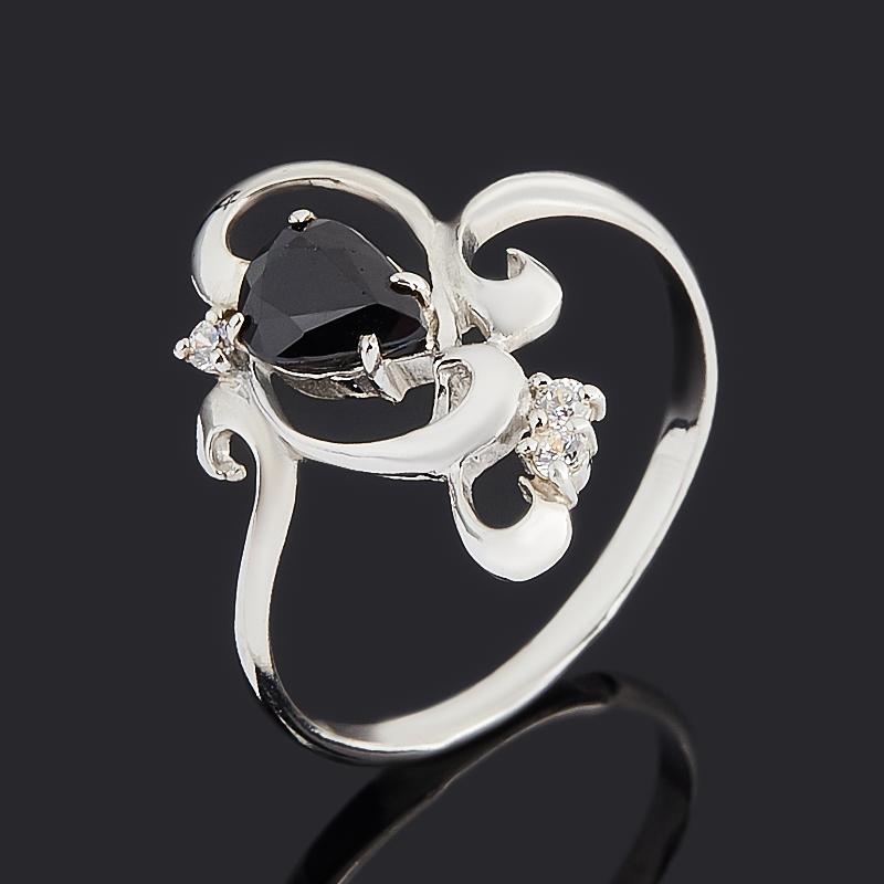 Кольцо сапфир черный (серебро 925 пр.) огранка размер 18,5