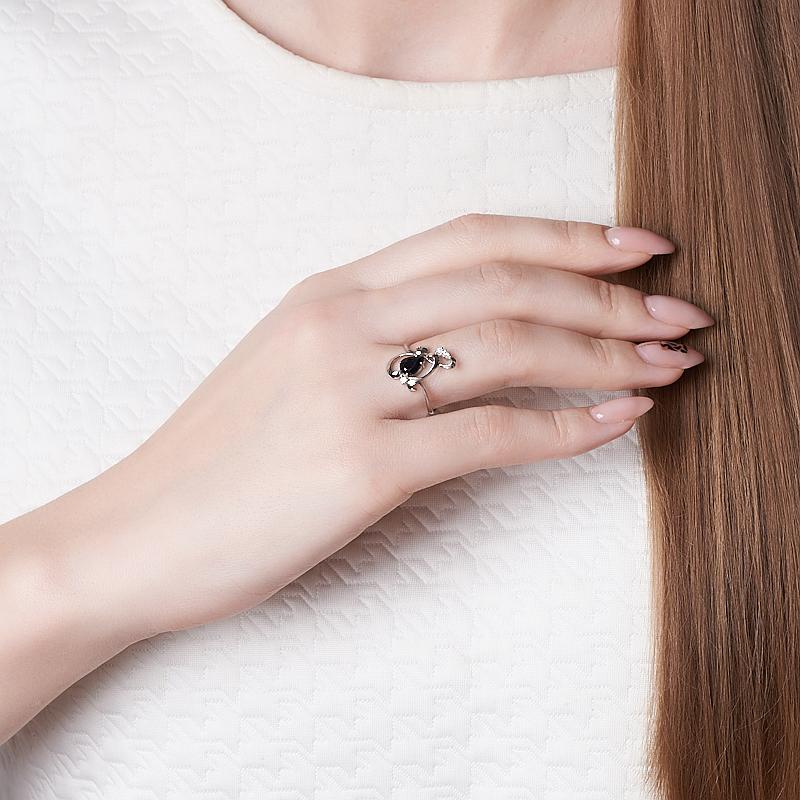 Кольцо сапфир черный Индия (серебро 925 пр.) огранка размер 18,5