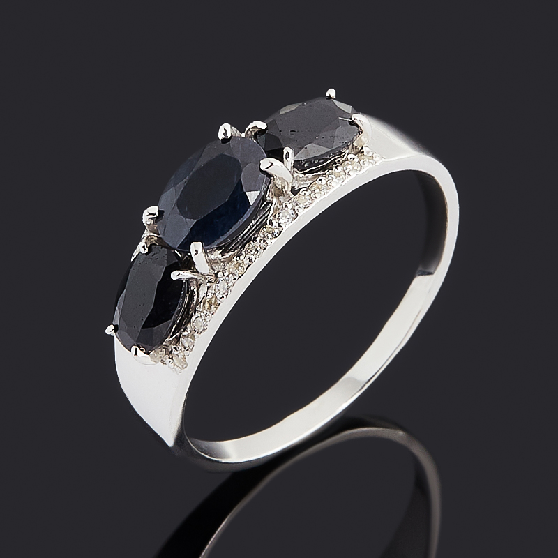 Кольцо сапфир черный (серебро 925 пр. родир. бел.) огранка размер 18,5