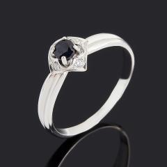 Кольцо сапфир черный Индия (серебро 925 пр.) огранка размер 16,5