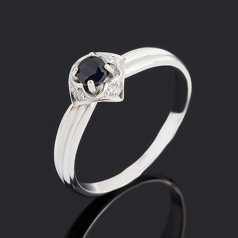 Кольцо сапфир черный (серебро 925 пр.) огранка размер 16,5