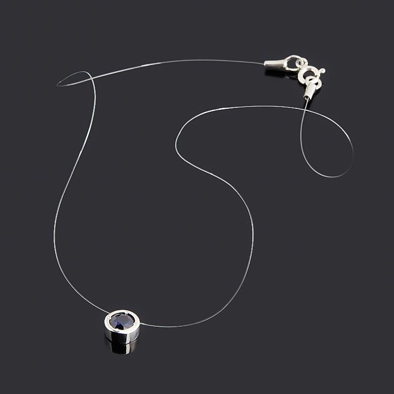 Колье сапфир черный Индия (серебро 925 пр. родир. бел.) огранка 6 мм 38 см