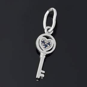 Кулон сапфир черный Индия (серебро 925 пр. родир. бел.) ключик огранка