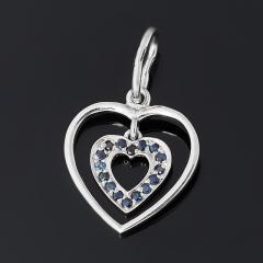 Кулон сапфир черный Индия (серебро 925 пр. родир. бел.) сердечко огранка