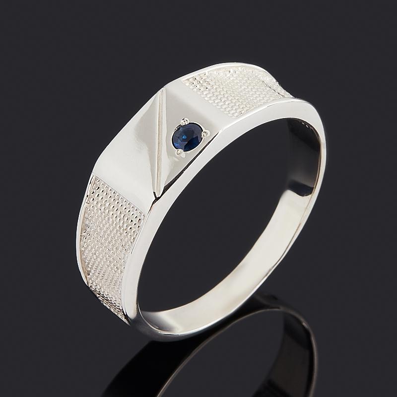 Кольцо сапфир черный (серебро 925 пр. родир. бел.) огранка размер 23