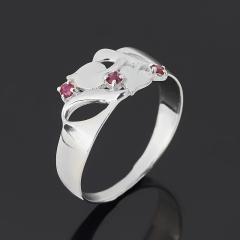 Кольцо рубин Мьянма огранка (серебро 925 пр. родир. бел.) размер 17