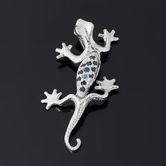 Кулон сапфир черный Индия (серебро 925 пр. родир. бел.) огранка