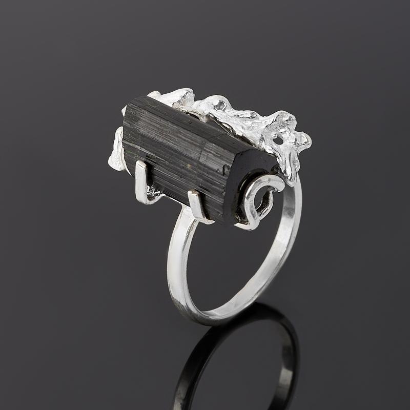 Кольцо турмалин черный (шерл) (серебро 925 пр.) размер 18,5