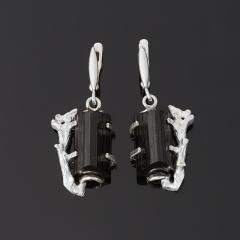 Серьги турмалин черный (шерл) Россия (серебро 925 пр.)