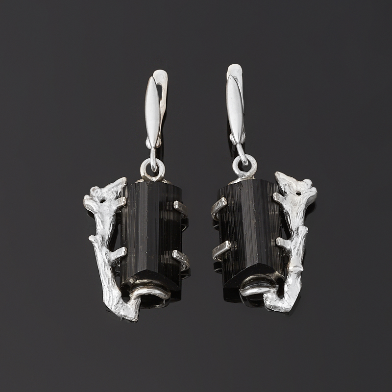 Серьги турмалин черный (шерл) (серебро 925 пр.)