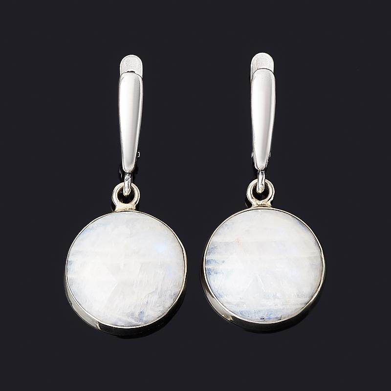 Серьги лунный камень (беломорит) (дублет) (нейзильбер)