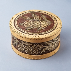Шкатулка для хранения (дерево береста) камней / украшений (бежевый) 19,5х10 см