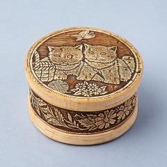Шкатулка для хранения (дерево береста) камней / украшений (бежевый) 10,5х5,5 см