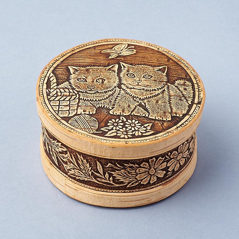 цена на Шкатулка для хранения (дерево береста) камней / украшений (бежевый) 10,5х5,5 см