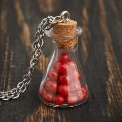 Кулон коралл красный Индонезия бутылочка (сталь хир.) 3 см