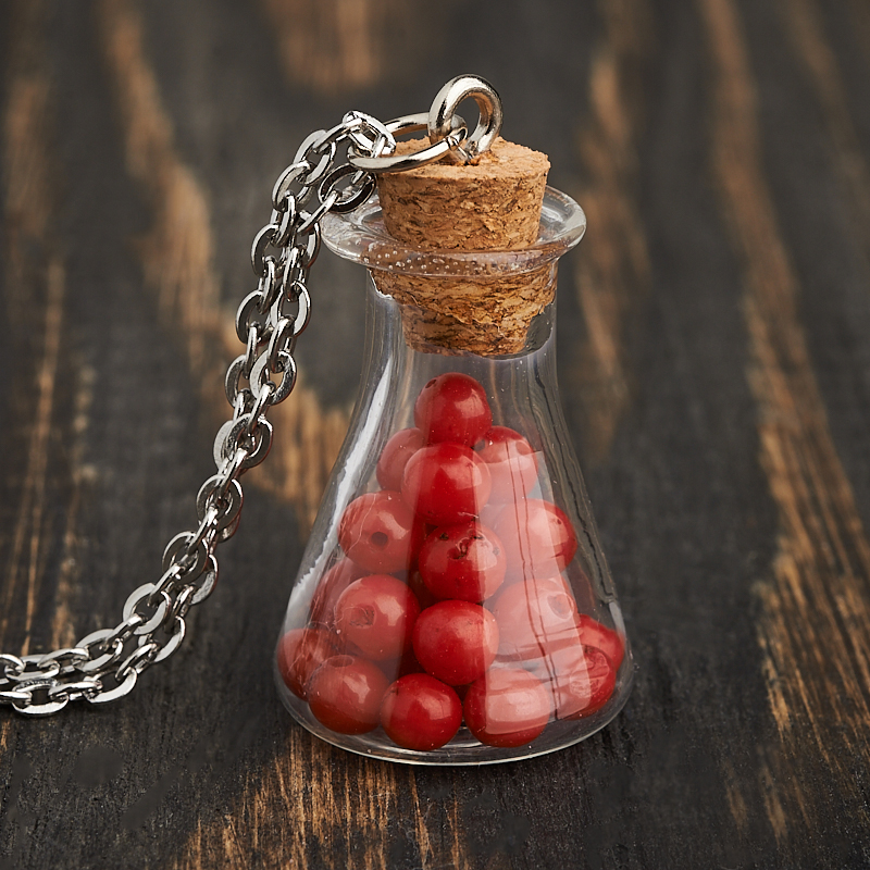 Кулон коралл красный бутылочка (сталь хир.) 3 см