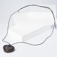 Кулон агат черепаховый США (биж. сплав, кожа натуральная, текстиль)