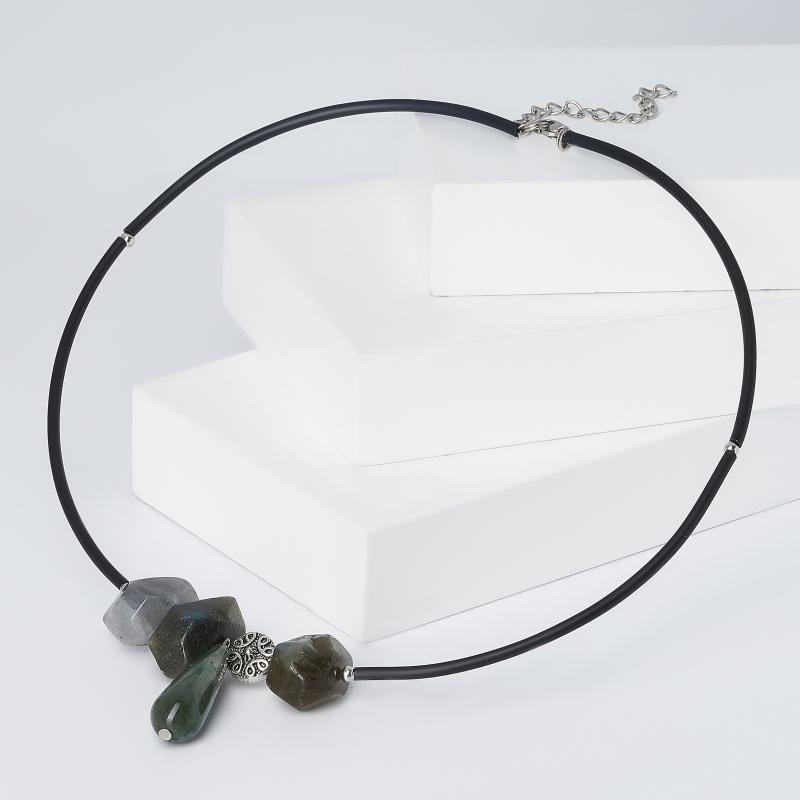 цена на Бусы микс агат, лабрадор (биж. сплав, сталь хир.) (колье) 44 см (+5 см)
