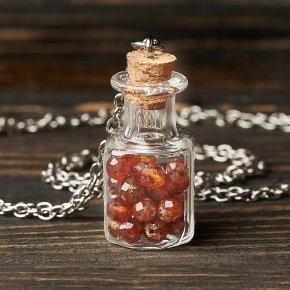Кулон гранат спессартин Нигерия (биж. сплав, сталь хир.) бутылочка огранка 3,5 см