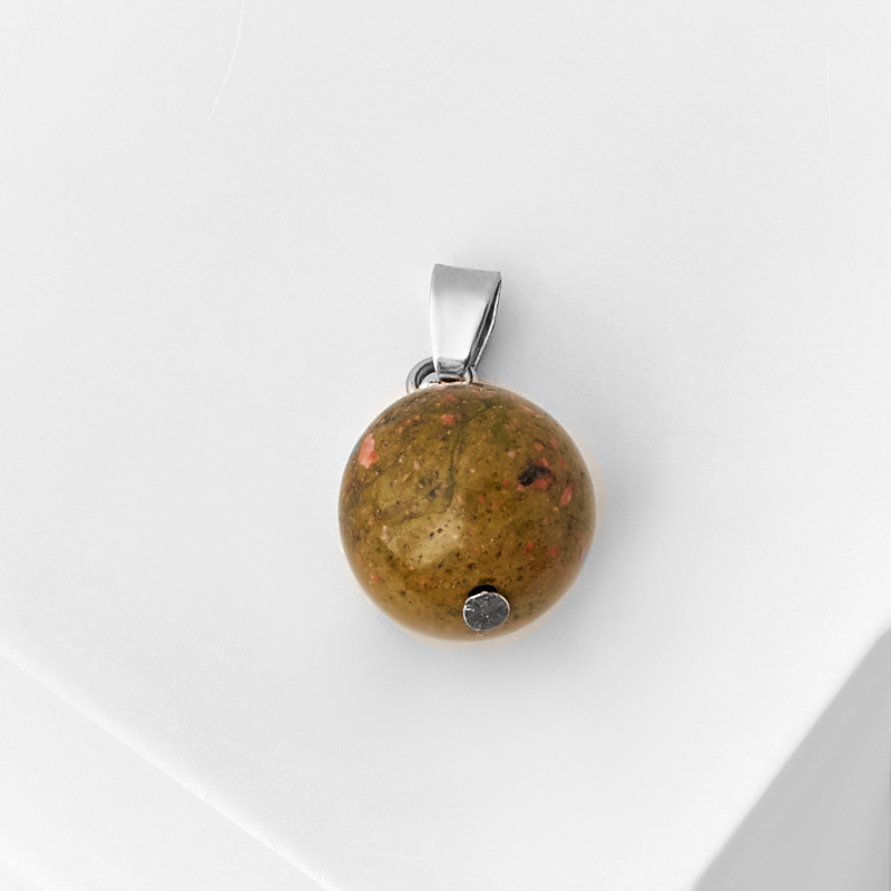 Кулон унакит ЮАР шар (биж. сплав) 2 см