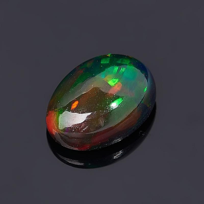 Кабошон опал благородный черный  (1 шт) 5*7 мм