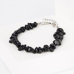 Браслет турмалин черный (шерл) Бразилия (биж. сплав) 16 см (+3 см)