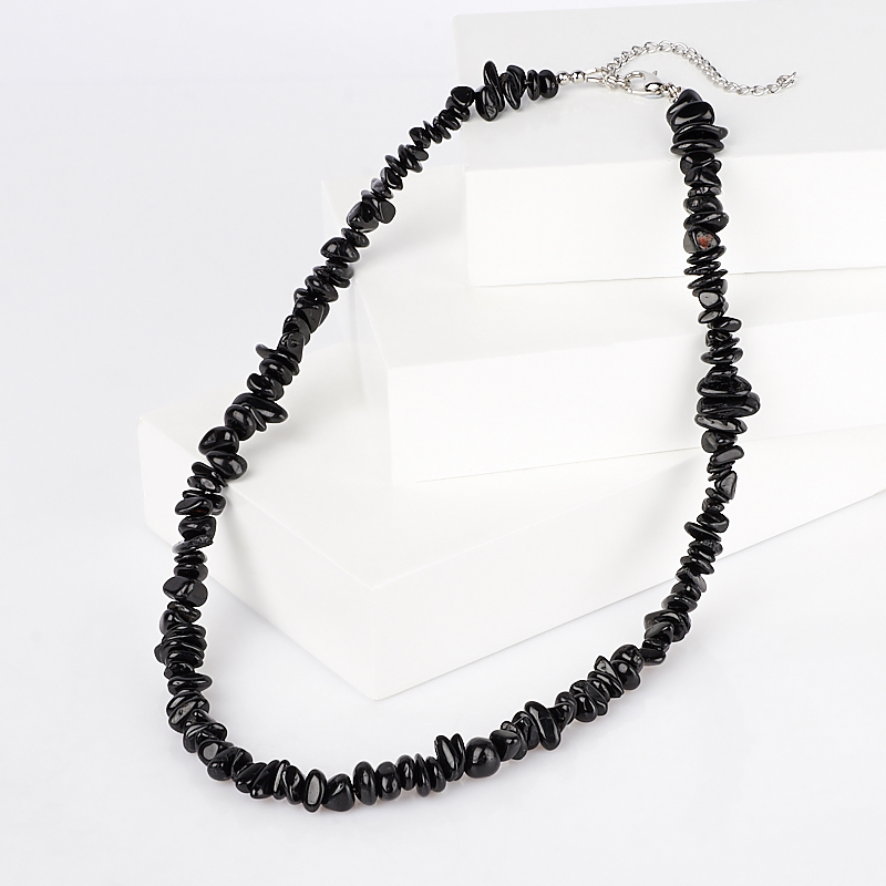 Бусы турмалин черный (шерл) (биж. сплав) 43 см (+7 см)