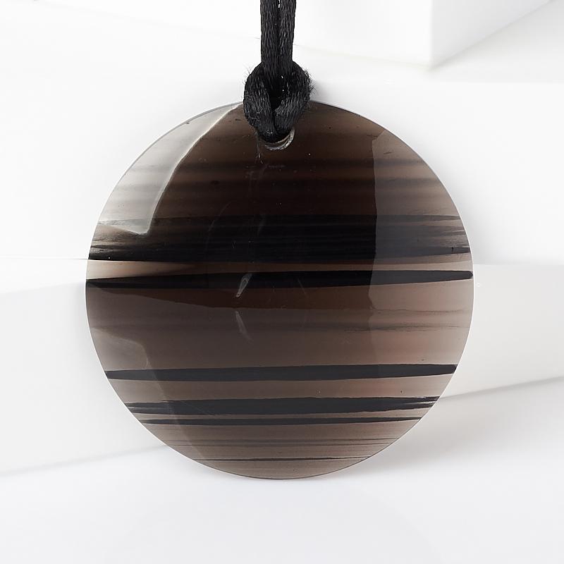 цена на Кулон обсидиан прозрачный (текстиль) круг 5 см