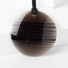 Кулон обсидиан прозрачный Армения (текстиль) круг 5 см
